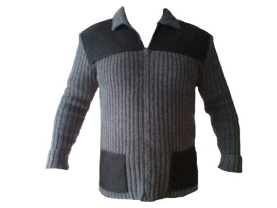 Men's cardigan sweater jacket with thick fabric on by woolopia, $215.00