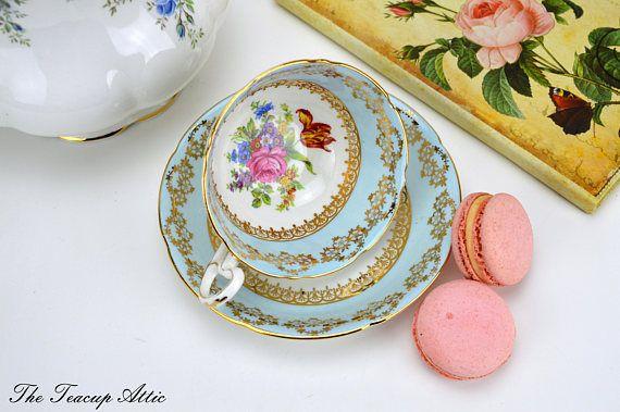 Royal Grafton Blue Teacup and Saucer With Floral Center Tea