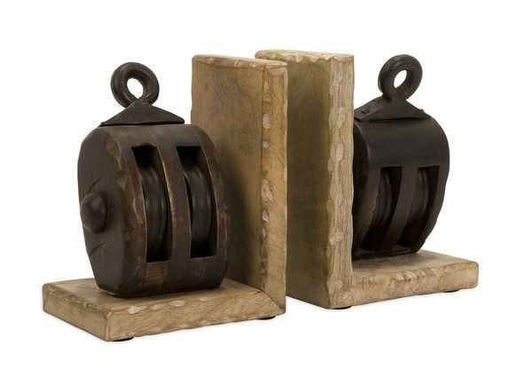 Very cool and unique, these Wooden Pulley Bookends compliment any home decor.