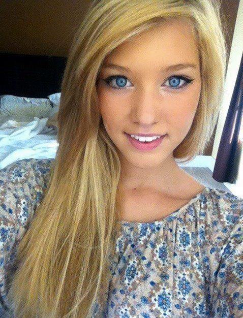 Eyes blonde hair girl blue