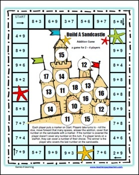 Please enjoy the Free Build A Sandcastle Addition Board Game by Games 4 Learning.This math board game practices addition up to 9 9. It is a game for 2 - 4 players. This game has children move around the math game board, calculating basic addition up to 18, covering the answers on the sandcastle as they go.