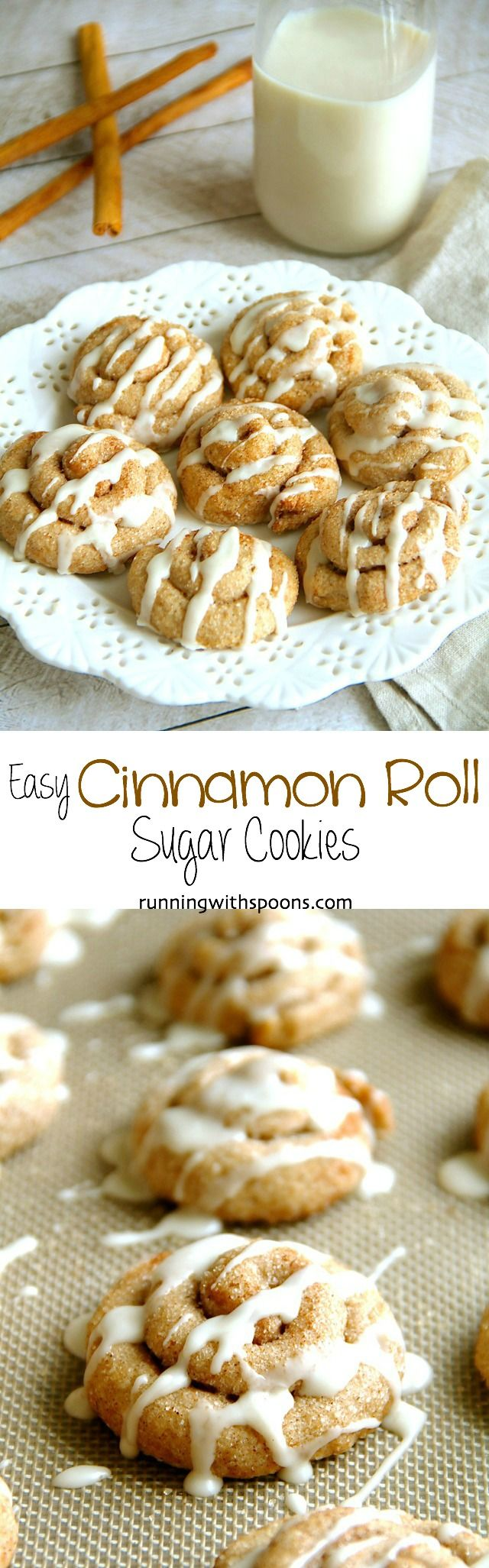 Cinnamon Roll Sugar Cookies -- they delicious cookies may look fancy and complicated, but they're super simple to make! || runningwithspoons.com