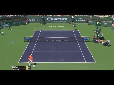 Roger Federer Hits Double Hot Shot Against Raonic