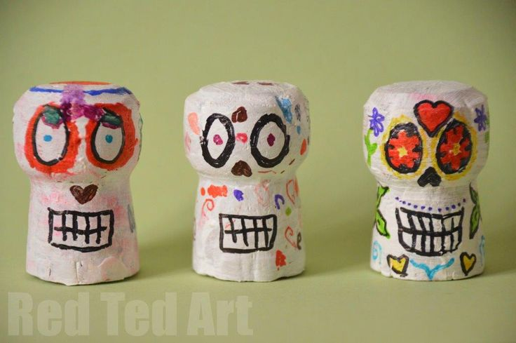 Day of the Dead Crafts and Activities -- Make your own cork calaveras!