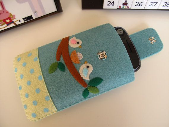 Love Birds Handmade Cell Phone/iPhone Case-Sky Blue (Custom Size Available) by FeltLLang $18.99