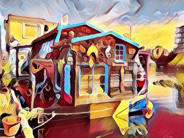 Floating house on river (Pop Art style). Casa flotante sobre río (estilo Pop Art). #popart #art #arts #arte #artes #pintura #pinturas #cuadro #cuadros #picture #pictures #painting #paintings #paintwork #paintworks #casa #casas #house #houses #rio #rios #river #rivers #casaflotante #casasflotantes #floatinghouse #floatinghouses
