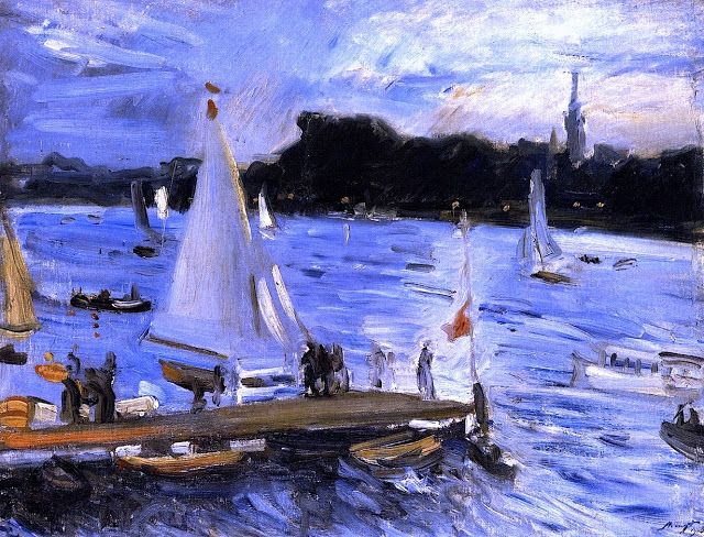 Sailboats on the Alster River in the Evening, 1905 Max Slevogt - German impressionist.