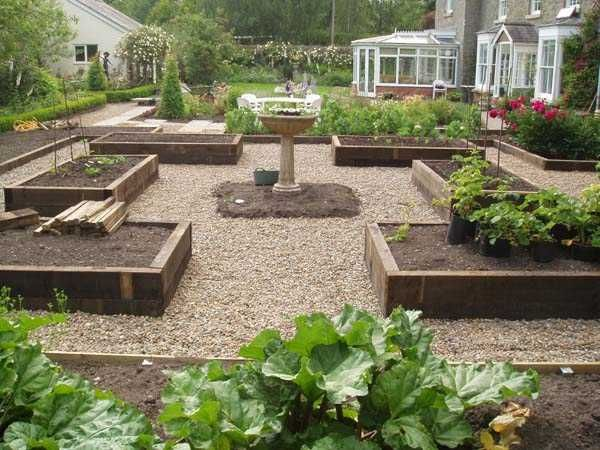 Potager garden - timber beds and gravel paths, mine also has a trellis joining two of the beds.