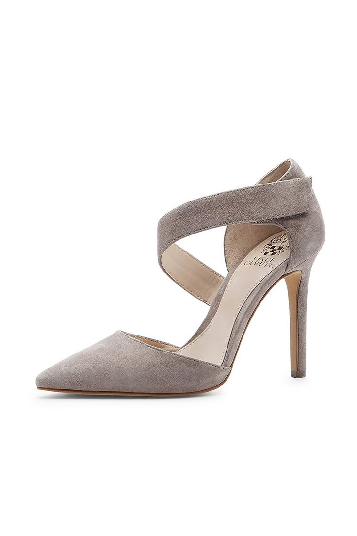 Grey suede heel with a flattering asymmetrical strap//