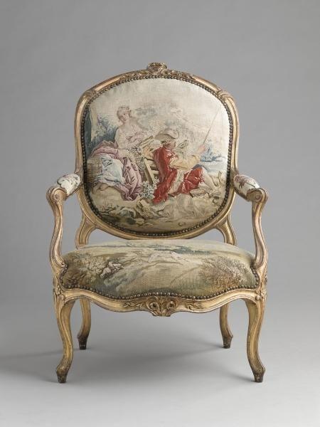 """"""" a-l-ancien-regime: """" Manufacture de Beauvais et Louis Delanois, Fauteuil à la Reine du château de Gâtelier, noyer dore, laine et soie, Paris, musée du Louvre """" """""""