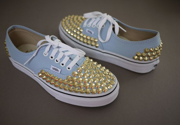 DIY studded Vans tutorial -- SUPER easy! and not punching holes = no water getting into your shoes