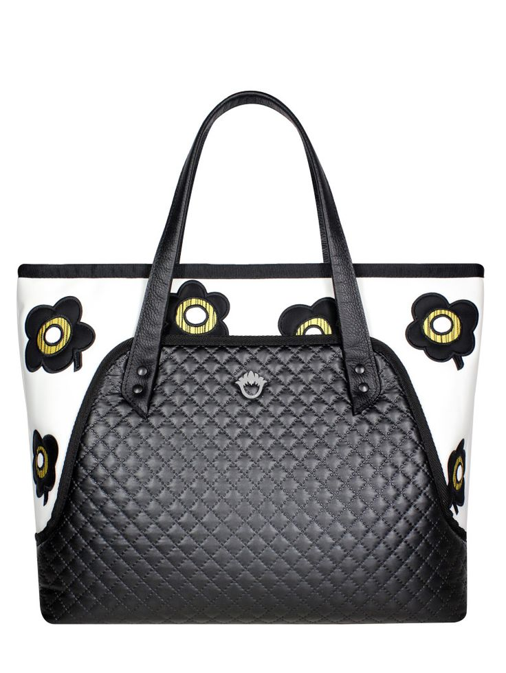 GOSHICO, ss2015, Flowerbag (shoulder bag XL / travel bag), black + white + pop art flowers. To download high or low resolution photos view Mondrianista.com (editorial use only).