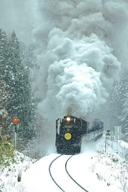 Snow Train / 陸羽東線「SLゆけむり号」 by u_ran2008, via Flickr