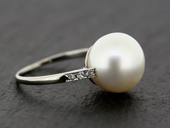 Holy gorgeous. / Art Deco Pearl Ring - Antique Platinum Cultured South-Sea Pearl & Diamond Ring