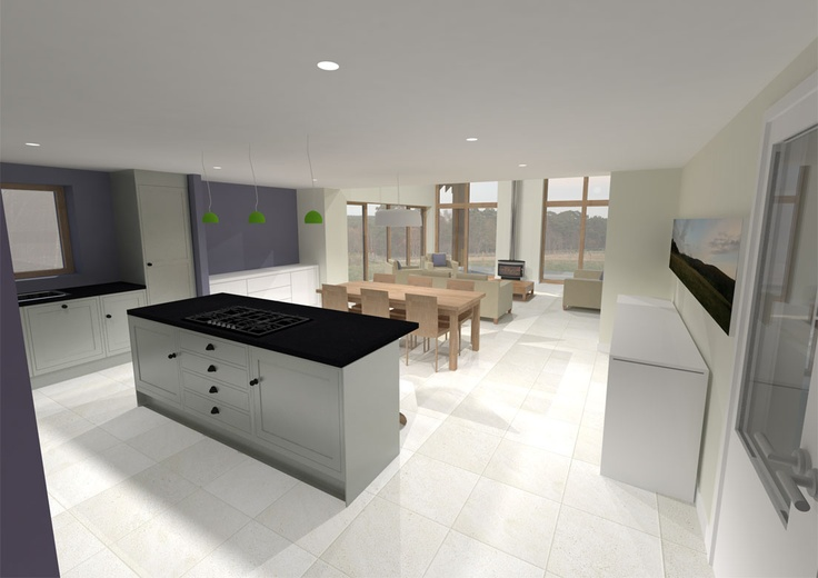 New energy efficient house in Ballogie Aberdeenshire designed by www.jamstudio.uk.com - 3D concept image - Kitchen Family Room