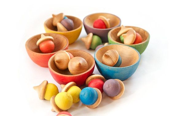 Rainbow Stacking Bowls and Acorns Toy  Waldorf by CakeInTheMorn, $25.00
