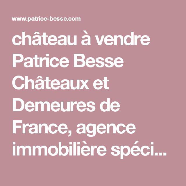 château à vendre Patrice Besse Châteaux et Demeures de France, agence immobilière spécialisée dans la vente de châteaux, demeures historiques et tout édifice de caractère.