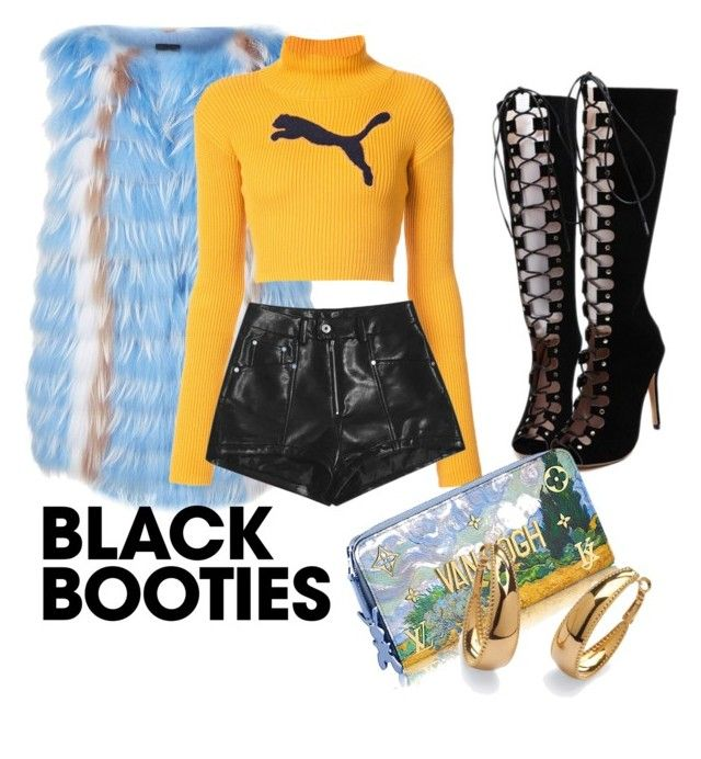 """""""Black booties"""" by estibaliz-rodriguez-bilbao ❤ liked on Polyvore featuring WithChic, Sportalm, Puma and Palm Beach Jewelry"""