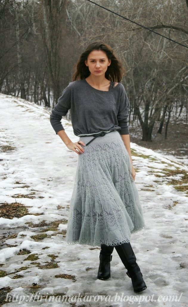 "Front with nakida: mohair skirt ""Ice haze"""