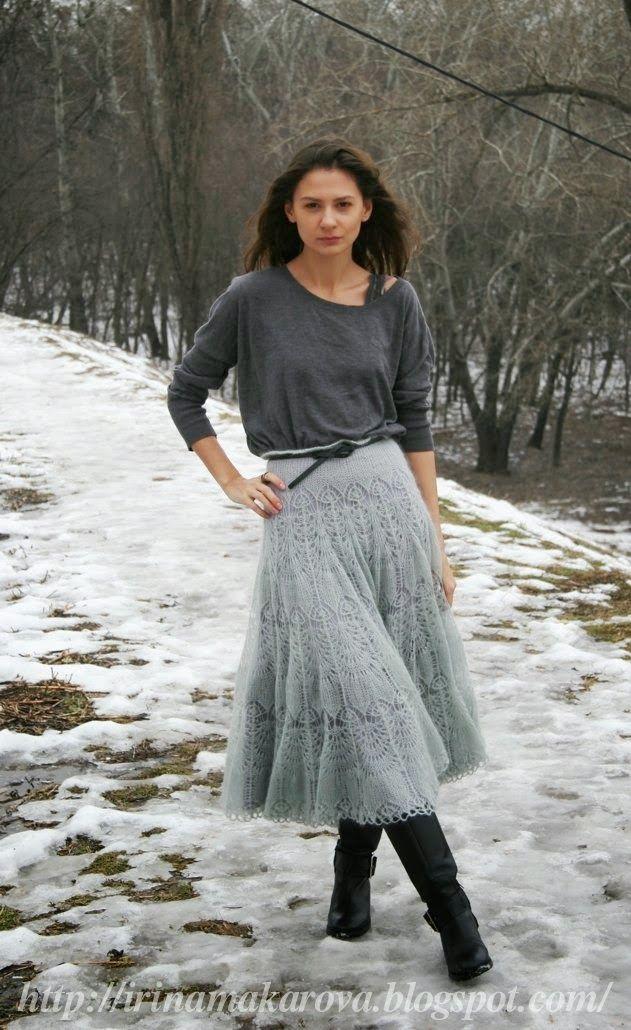 """Лицевая с накидом: Мохеровая юбка """" Ледяная дымка """""""