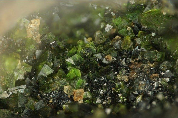 Liebenbergite, (Ni,Mg)2SiO 4, olivine family, Liebenbergite slag dump, Agios Konstantinos [St Constantine], Lavrion District slag localities, Lavrion District, Attikí Prefecture, Greece Copyright © Stephan Wolfsried 1/2015
