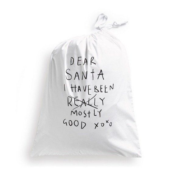'Dear Santa'...Santa Sack - Cotton Drawstring Bag
