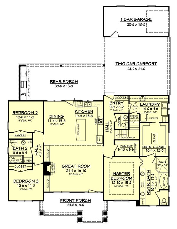 *****Craftsman Style House Plan - 3 Beds 2.5 Baths 2151 Sq/Ft Plan #430-141 Floor Plan - Main Floor Plan - Houseplans.com