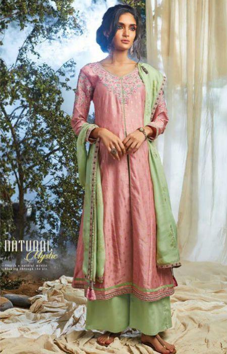 b9b4c33e95 Ganga Natural Mystic Pure Kora Silk Goldfoil Embroidery and Handwork Suits  6625