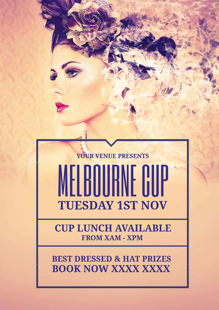 Beautiful free Melbourne Cup / Spring Racing promotional template for your event this year! Use this existing template or customise it as much as you like. Visit easil.com to get started!