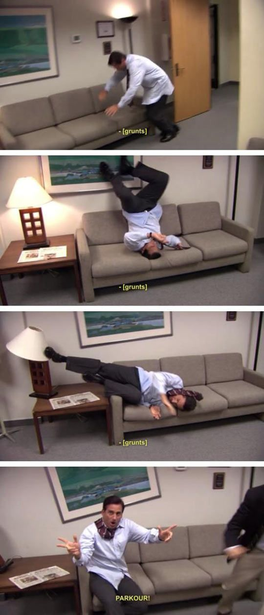 He's got parkour figured out… I love The Office