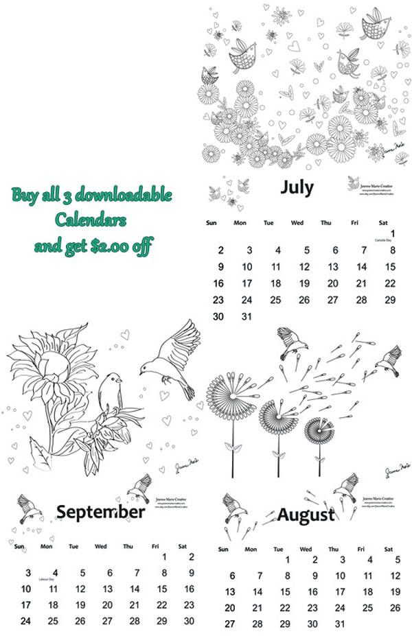 Coloring Calendar 2017 July, August, September,   Downloadable Colouring Adult Pages Digital Stamp Digital Download Jeanne Marie Creative by JeanneMarieCreative on Etsy