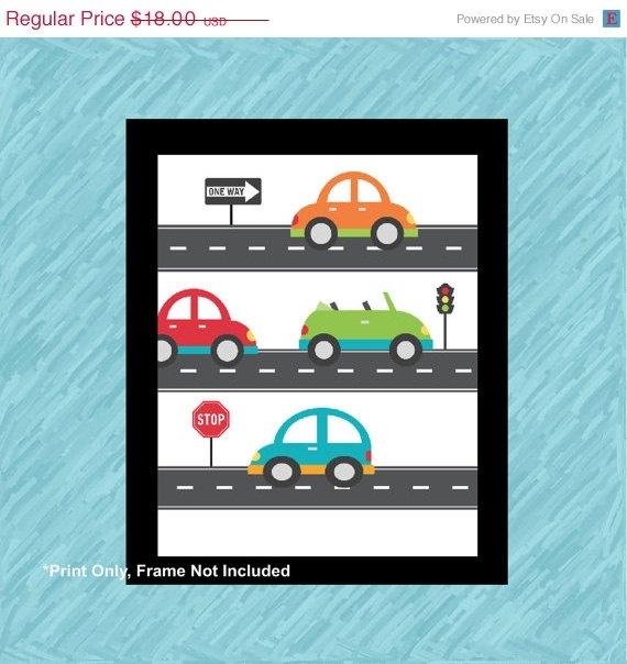 "Transportation Art Prints for Toddler, or play room, Traffic 8x10"" art print. $10.80, via Etsy."