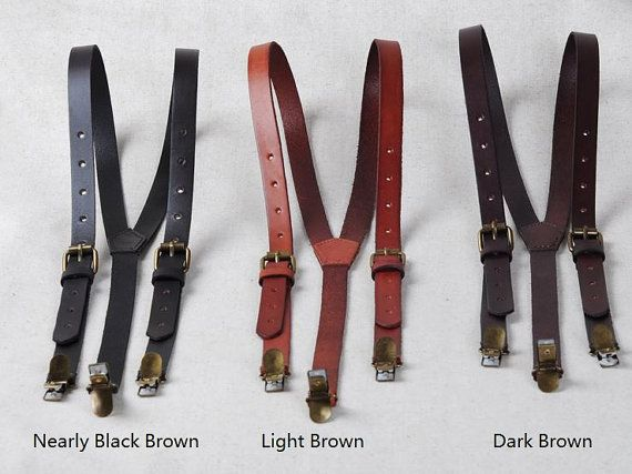 Leather Suspenders Braces Brown/Black - Clip-on Adjustable Belt, Hand-Stitched Leather for Men/Women, Weddings or gift for groomsmen on Etsy, $37.99