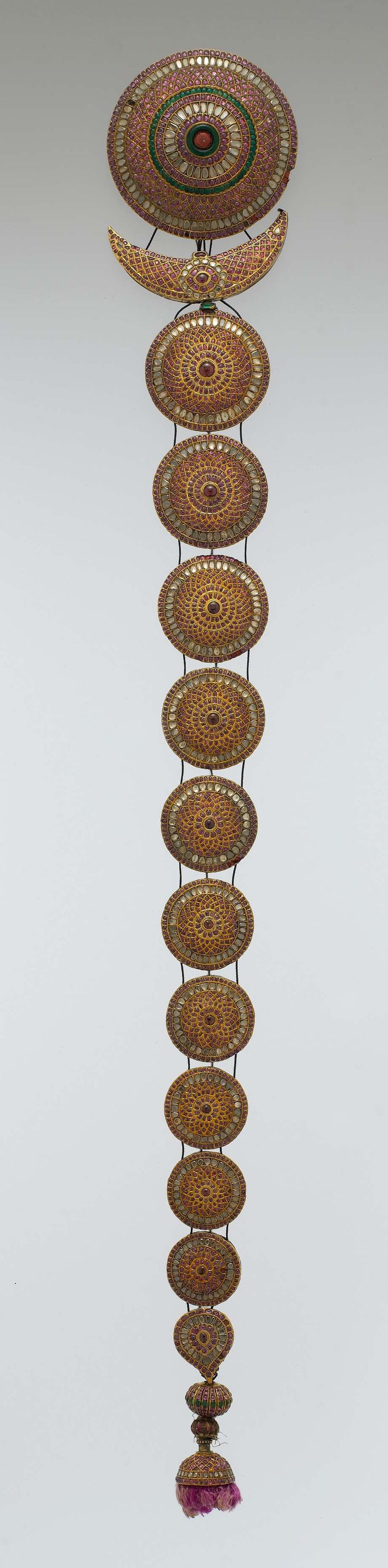 India | Braid/plait ornament {Jadanagam}; gold inset with rock crystal, rubies, emeralds and amethysts | 18th/19th century. Probably Madras