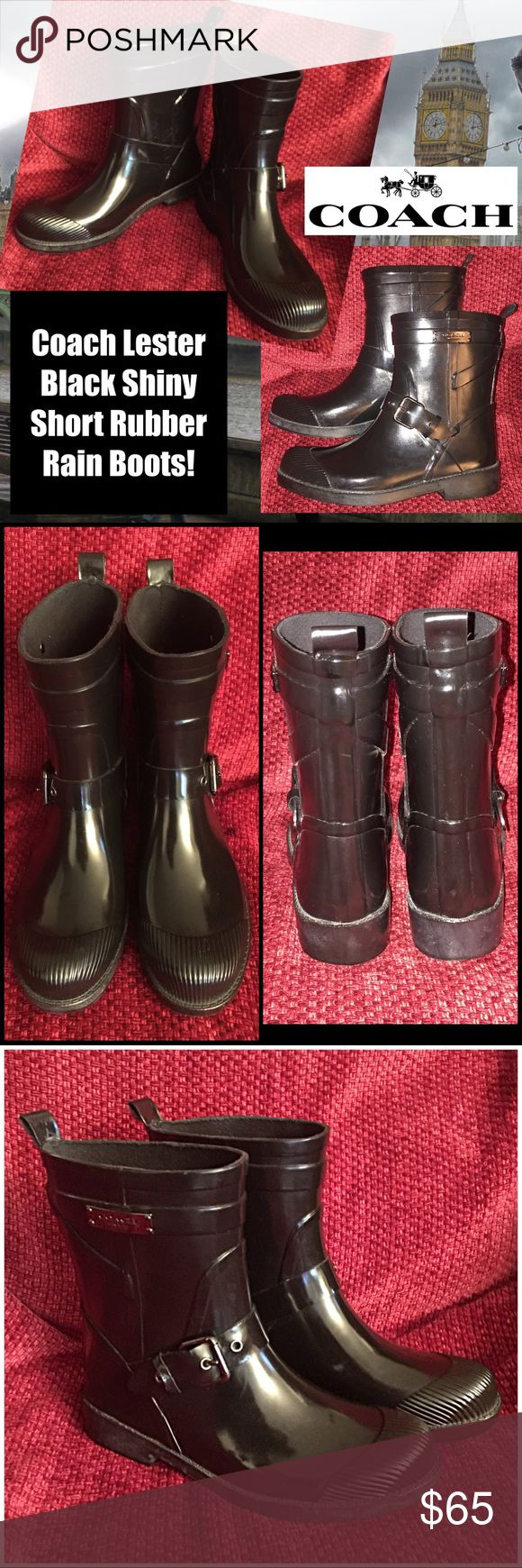 Coach Lester Black Shiny Short Rubber Rain Boots! Coach Lester Black Shiny Short Rubber Rain Boots! Features: 100% authentic, black rubber boots & soles, textured cap toe & ankle, buckle strap style & water & weatherproof. Size 6B. Like new - excellent condition! Coach Shoes Winter & Rain Boots