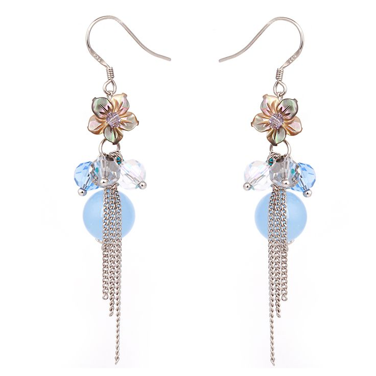 Fashion pale yellow crystal blue starfish earrings flower chain 925 silver long chain tassel earring jewelry female long section