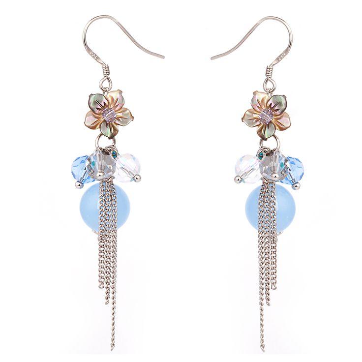 Fashion pale yellow crystal blue starfish earrings flower chain 925 silver long chain tassel earring jewelry female long section
