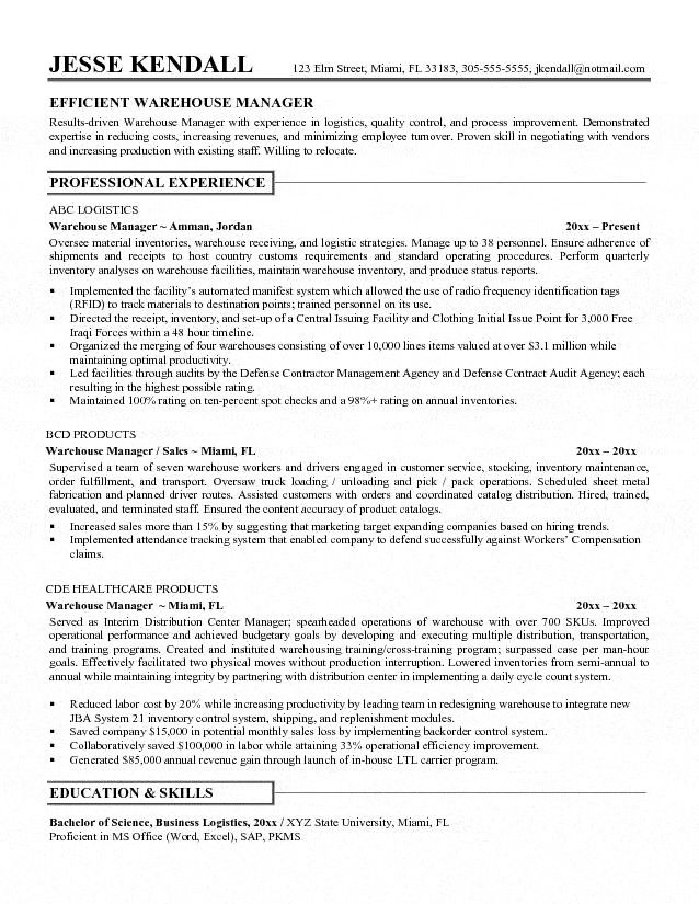 20 Best Ideas Warehouse Supervisor Resume Check More At Http