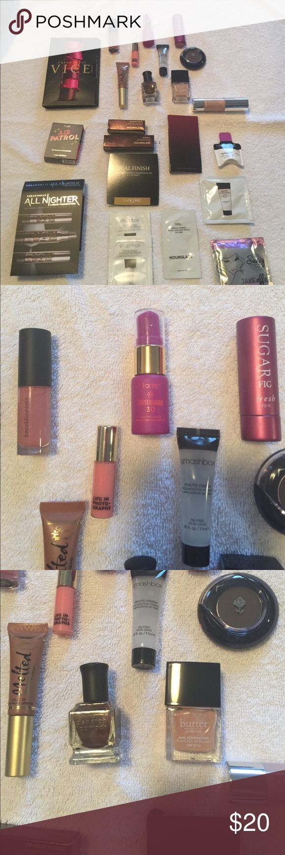 Prestige cosmetic samples Urban decay benefit Clinique Lancôme sugar bare essentials too faced butter Deborah Lippmann laura Geller and others. Lip gloss highlighters primers eye shadow etc. Makeup