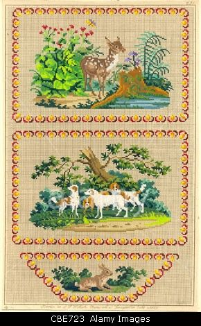 Berlin wool work pattern of hounds for a writing case  Berlin wool work pattern…