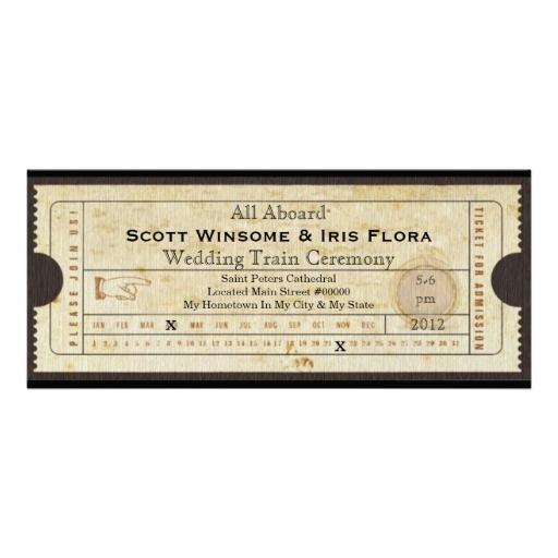 Zazzle - Vintage Wedding Train Ticket Invitation