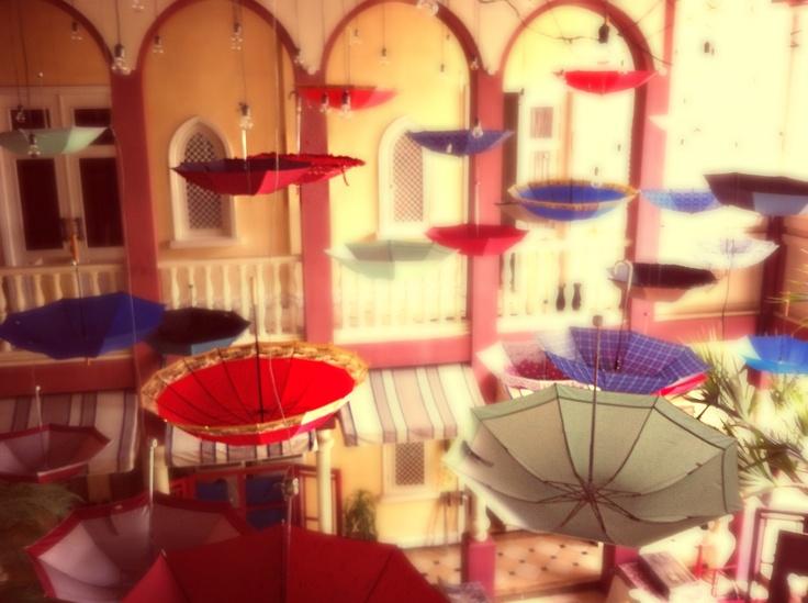 Umbrellas... Umbrellas everywhere. What a romantic monsoon wedding theme.Wedding Theme