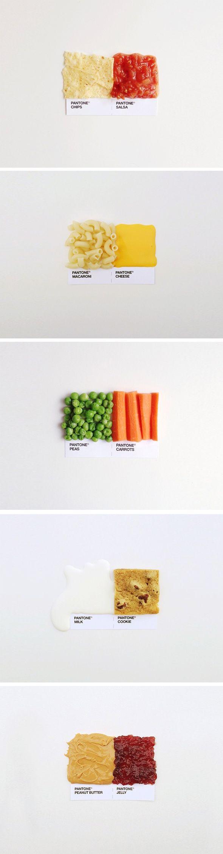 Graphiste et illustrateur basé à Minneapolis, David Schwen, signe une série de photos sur Instagram, intitulée Pantone Pairings. Il reprend le fameux nuancier Pantone et remplace pour chaque échantillon, la zone colorée par un aliment et lui donne le nom correspondant.