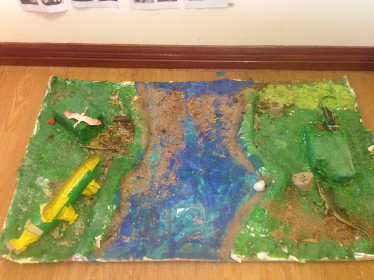 Crocodile Habitat made with recycled cardboard, containers and used paper.
