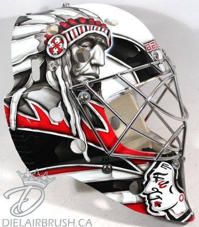 Ray Emery has another new mask that fits perfectly with the Blackhawks' iconic jerseys and Indian head logo, but a more aggressive version didn't make it past the PC police.