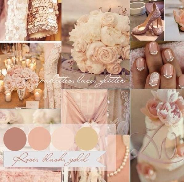 ~ Blush, peach, pink and gold wedding colour palette ~
