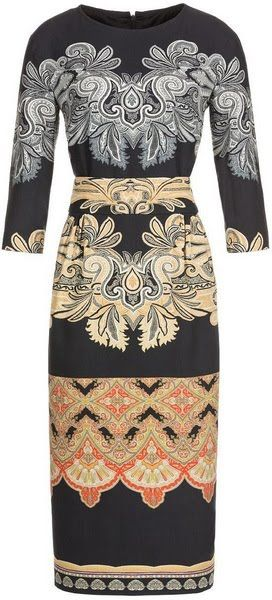 ETRO Belted printed wool dress