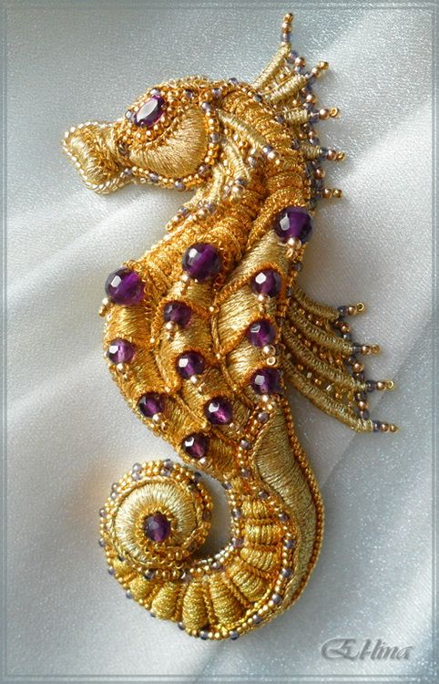 Seahorse - Embroidered brooch. Handmade Goldwork Embroidery, Beadwork. I am starting to be kind of entranced by goldwork <3