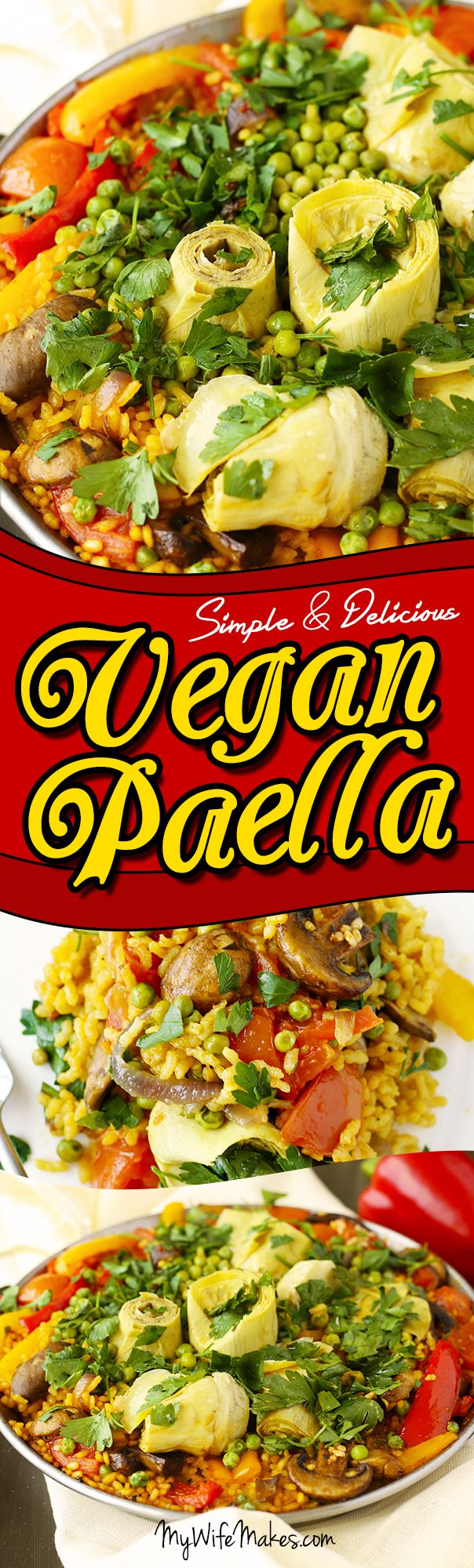 Dinner Ideas: Vegan Paella - delicious vegan spanish rice, flavored with saffron and smoked paprika, topped with mushrooms, artichoke hearts, red and yellow bell pepper, roma tomatoes and sweet green peas. #mushroms #artichokes #peppers #paella #spanish #vegan #saffron #onepan #delicious