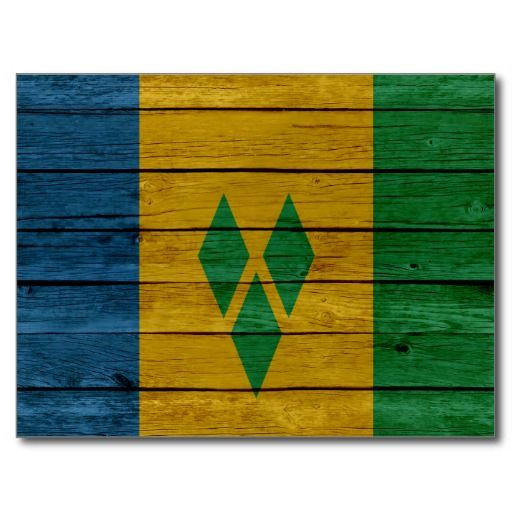 St Vincent & The Grenadines Old Wood Postcard #caribbean #Flags #Postcards